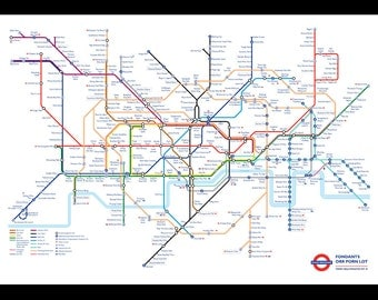 London Underground Tube Map as Anagrams  A3 A2 A1 A0 Poster Print