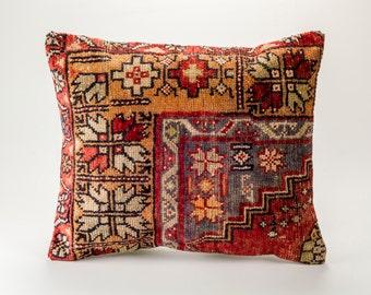 Vintage, wool hand woven Kilim pillow - Bohemian Cushion 19'' x 22'' (48 cm x 57 cm)