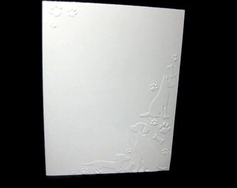 Dogs and Paw Prints Embossed Blank Note Cards, Embossed Blank Cards, Embossed Blank Greeting Cards Set of 12 (Dogs)