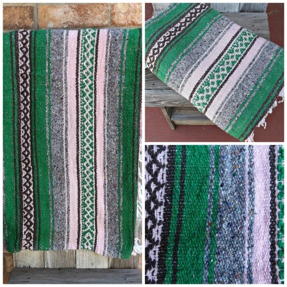 Mexican Beach Blanket: Vintage Woven Mexican Blanket Striped Tapestry Wall Hanging