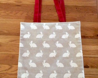 Tote Bag in White Rabbit Linen Fabric with a Red Cotton Lining. Perfect for Books, Lunch, Shopping. Foldable and Washable
