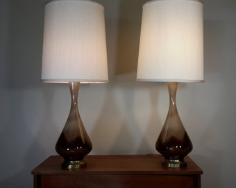 Mid Century Modern Pair of Brown Drip Glaze Lamps