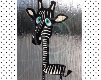 Giraffe / Zebra window cling, hand painted, glass & mirror, reusable static cling decals, faux stained glass effect, decal, suncatcher