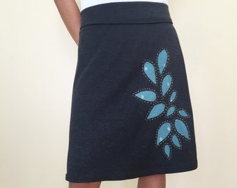 Charcoal A line skirt with leaves applique, charcoal knit skirt, A line knit skirt, summer skirt