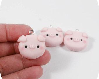 Cute Piggy Head - Polymer Clay Charm