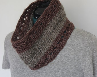 Crochet Wool Cowl in Neutrals