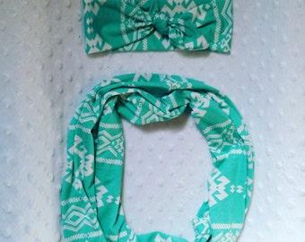 Soft Teal/ White Aztec Infinity Scarf & Headband Set