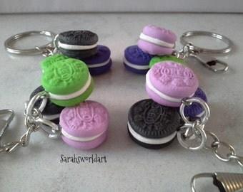 Miniature oreo keyring, keychain, bag charm, planner charm, polymer clay
