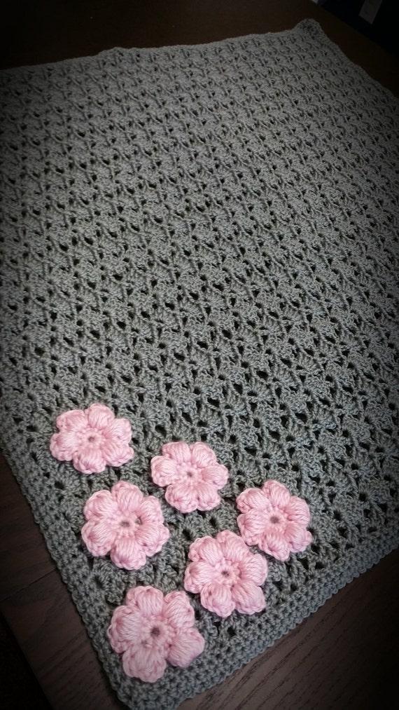 Beautiful Handmade Crochet Baby Girl Gray Blanket With Pink