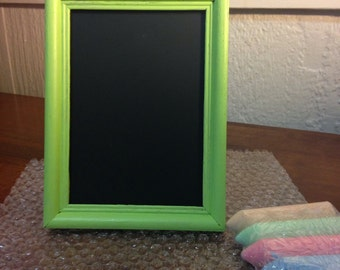 Lime Green 5x7 chalkboard with chalk!