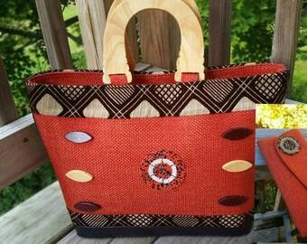 OUT OF STOCK African Jute Orange handbag