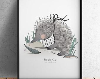 Rock Kid - Australian Echidna Nursery Print