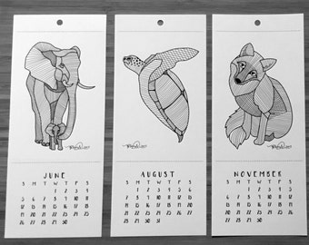 2016 Coloring Postcard Calendar: Hand-drawn Animals of the World