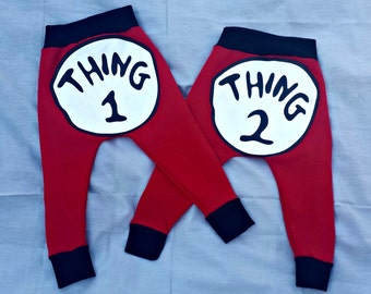 Thing 1 and Thing 2 pants, Dr.Seuss, Baby gifts, Baby clothing, Custom made,Hand made,
