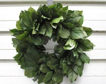 "Preserved Salal (Lemon Leaf) Wreath 16"" Dark Basil Green Handcrafted for Home Decor, Wedding, Craft, Centerpiece, Candle Ring, Woodland, DIY"