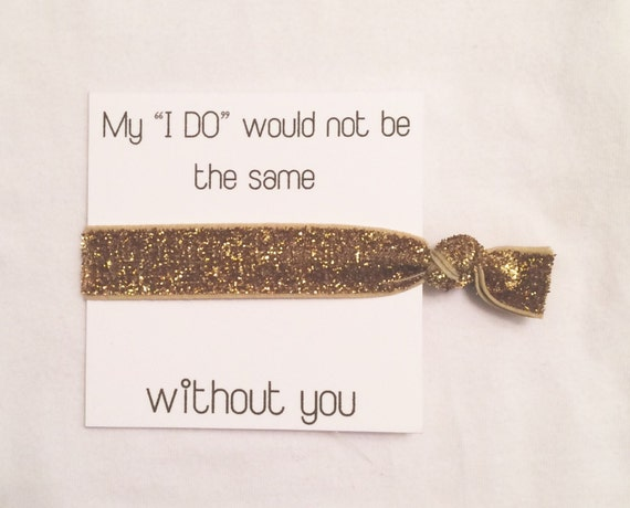 Bridesmaid hair tie favor//hair tie card//elastic hair ties//party favor