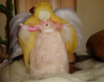 Dreamy romantic Angel-guard of family happiness-brings peace and love to every corner.Lovely original gift.HanmadeFelted