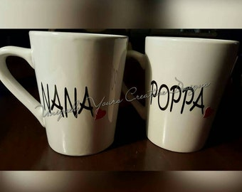 Nana and Papa Mug Set, Oma and Opa Mug Set New Grandparents Gift, Pregnancy Reveal, White Coffee Mug, Tea Cup, Personalized Gift, Gift Set
