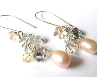Blush Pink Pearl Cluster Earrings. Dainty Crystal and Pastel Pearls, Sterling Silver Wedding Earrings, Bridal Jewelry