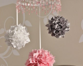 Shabby chic baby mobile, pink and gray pom pom crystal nursery mobile
