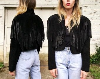 Vintage Black Leather Suede Cropped Motorcycle Jacket w/ Full Fringe