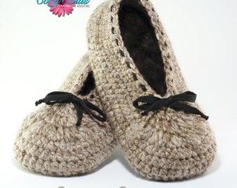 Cozy Souls Handmade Women's Ballet Flat Slipper - Cozy Wool Blend, Leather Soles, Faux Fur Insoles
