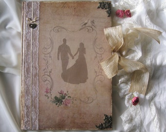 Once upon a dream  wedding guest book, vintage wedding guest book, vintage wedding photo album, shabby chic wedding guest book, wedding gift