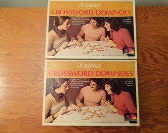 Pair of 1975 Selchow and Righter Scrabble Brand Crossword/Dominoes Games