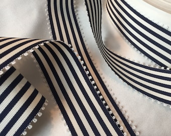 2+ Yards Blue and White Ribbon, Vintage Striped Ribbon, Vintage Picot Edge Ribbon, Vintage Grosgrain Ribbon, Rayon Cotton Ribbon