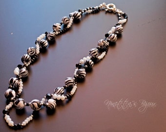 Polymer clay and beads Necklace Double strand black and white