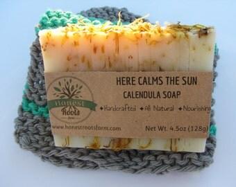 Calendula Soap- Handmade Soap- Homemade Soap-  All Natural Soap - Essential Oil Soap - 4.5 oz Bar Soap - Sensitive Skin Soap - Herbala Soap