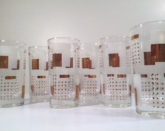 Libbey Mid-Century White and 22-Karat Gold Geometric Square Glasses (Set of 6)