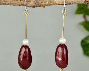 Garnet tagua earring, vegetable ivory drops, pearl earring, eco-chic earring, long white pearl drops, natural bead jewelry, gift for myself.