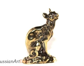 Cornish Rex cat, miniature statuette of bronze, metal figurine
