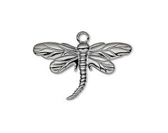 Charm, Dragonfly, Gunmetal Plated Brass, Steampunk, 26x15mm, 4 each, D437