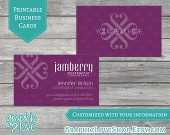 Printable, Personalized Jamberry Independent Consultant Double Sided Business Cards | Digital JPG, PNG & PDF Files