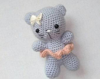 Crochet kitty, amigurumi kitty, pink and grey toy, amigurumi kitty, baby toy, baby shower gift, birthday baby gift