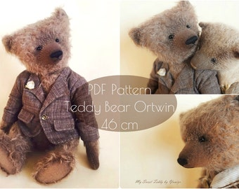 PDF Pattern Teddy Bear Ortwin 43 cm/17 inches, instsnt download, artist teddy bear pattern, interior doll pattern