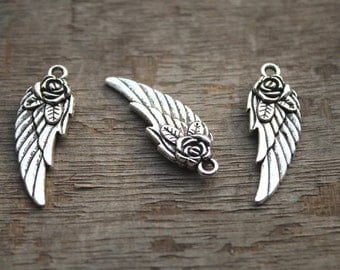15pcs--Wing charms,Antique Tibetan Silver Tone Steampunk Angel Rose Wing charm pendants,flowers wing 11x31mm D0633