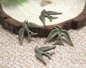 25pcs--Swallow bird charms, Antique bronze tone Cute Lovely Bird charm Pendants,Sparrow Charms, DIY Supplies 17x25mm D1703