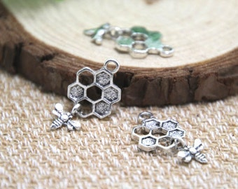 30pcs- Bee and Honeycomb Charms , Antique Tibetan silver Bee and Honeycomb Charms pendants 13 x 20 mm D1626