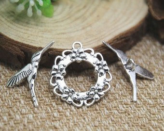 10 sets Silver Hummingbird Toggle Clasps D1385