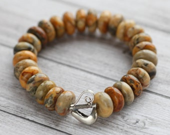 Agate bracelet, natural stone bracelet with sterling silver accent