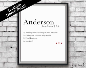 Personalized Last Name Dictionary Print, Family Name Art, Family Name Gift, Anniversary Gift, Home Decor, Custom Dictionary Print