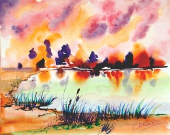Landscape painting Original painting Watercolor painting of Nature Sunset painting contemporary art wall decor modern art