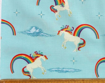 Unicorns and Rainbows on Aqua Cotton Fabric by Doohikey Designs for Riley Blake Fabrics per Fat Quarter FQ