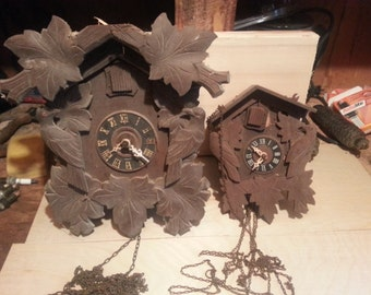 2 Vintage German Cuckoo Clocks - Parts or Repair