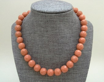 Coral Celluloid, Faceted Necklace, Coral Color Necklace, Faceted Celluloid, Faux Coral Necklace, Celluloid Necklace, Carved Celluliod