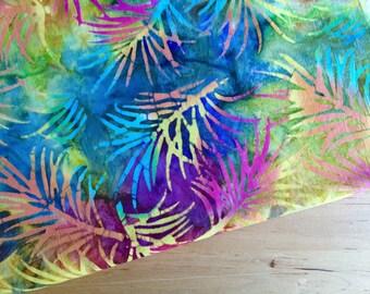 Rainbow batik fabric by the yard or fat quarter, leaf fabric, hand dyed fabric, batik cotton fabric, sewing fabric, quilt fabric, yardage