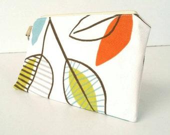 Cream/green/blue/orange/Brown leaf/leaves/nature wristlet/bag/purse/pouch/handbag with gold flecked wrist strap
